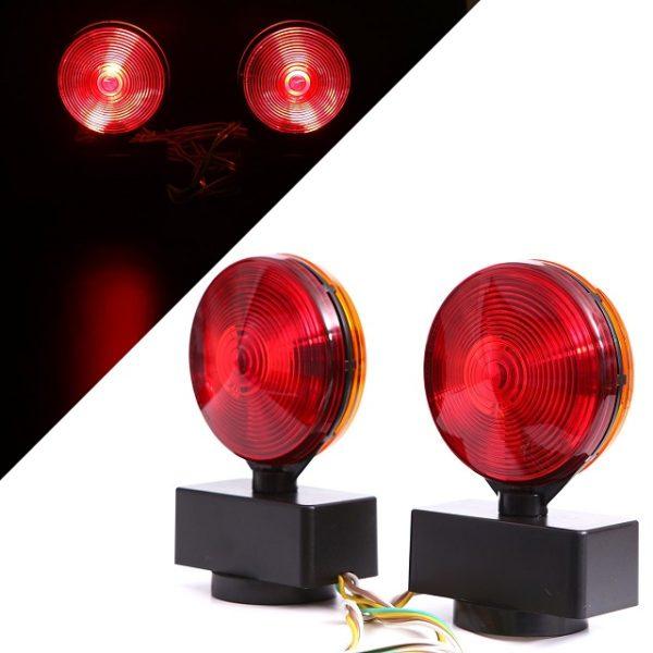 LED 2 Pc Magnetic Towing Trailer Lights Kit Red Tail Light, Brake Light, Turn Signal Light