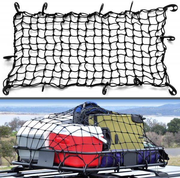 Rooftop Carrier Rack Elastic Bungee Cargo Net for Car Roof Basket