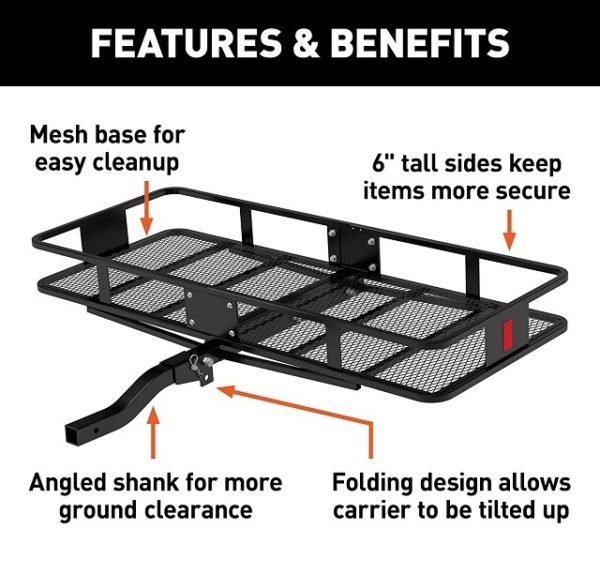 """60"""" x 24"""" Folding Tow Hitch Cargo Carrier Features and Benefits"""