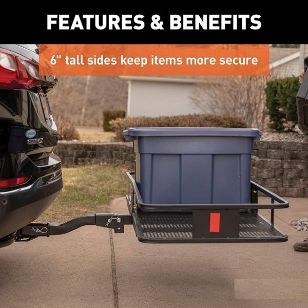 XL Folding Tow Hitch Cargo Carrier Travel Luggage Rack Basket