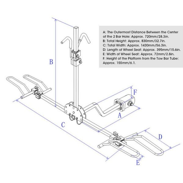 """Diagram for 2 Bike Bicycle for 1-1/4"""" & 2"""" Hitch"""