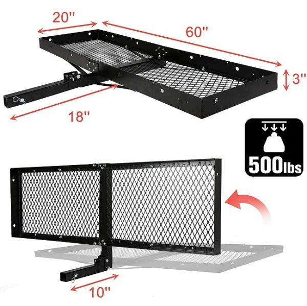500 lbs Capacity Tow Hitch Tray Carrier