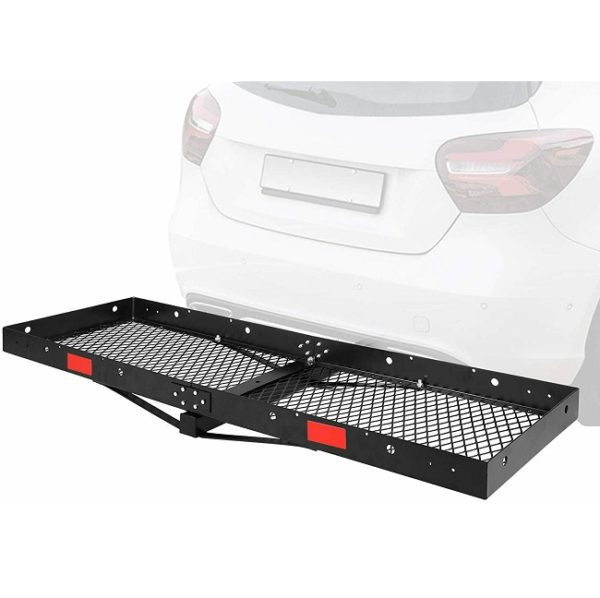 """60"""" Inch x 20"""" Inch Folding Tow Hitch Flat Cargo Tray Carrier Rack - 500 lbs Capacity"""